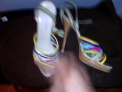 Cum on high heeled sandals.