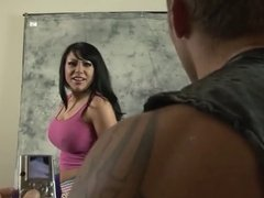 Tattooed brunette slut is fucked on set