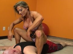 Muscular Blonde Wrestles wimp