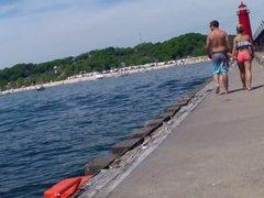 Candid Bikini Beach Butt Ass West Michigan Booty Postcard