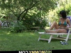 Mother toying her sweet pussy outdoors