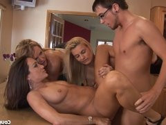 Lucky Guy Fucks 3 MILF Babes At Once