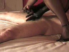 Handjob dick in black leather gloves! Amateur!