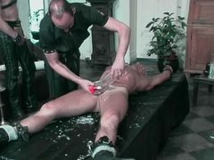 Blond hunk gets his cock pumped and tortured with hot candle
