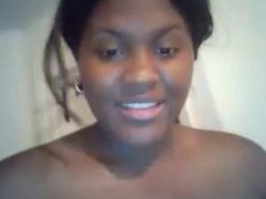 Black girl big tits, showers then plays with pussy