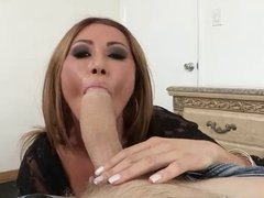 Asian milf Kianna Dior POV sucking monster cock