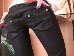 Petite Drian teasing in skinny jeans