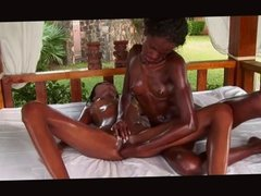 Mutual Massage Between Two Black Girls