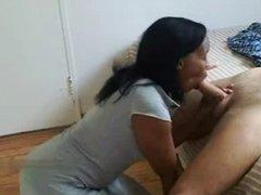 Thai hooker sucking big cock customer