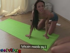 Girlfriends do yoga then get horny and eat wet pussy
