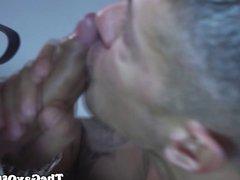 Muscular office hunk eats ass and sucks cock