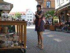 Window shopping in italian high heel sandals