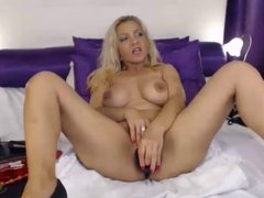 Busty blonde milf dildos pussy on webcam