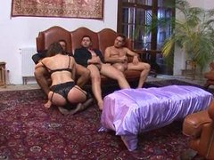 Rough Brunette Gangbang