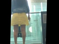 yellow skirt at the airport