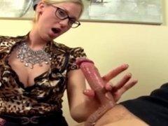 Blonde gives hot finger hand job (CFNM)