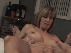 Beautiful mature wife playing with younger cock for hubby