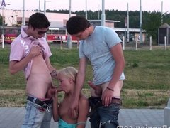 Teenagers PUBLIC gangbang in the street Part 1