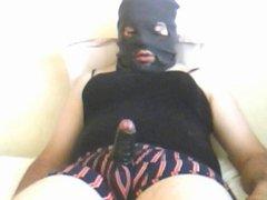 masked cumshot with homemade fleshlight 1