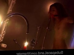 Sexy redhead bondaged in the shower and after fucked