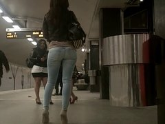 Sexy Spy Cam Ass in Jeans at Railway
