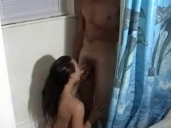 Amateur couple takes shower together