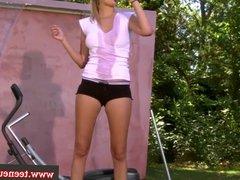 Young euro amateur outdoor masturbation