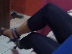 TV Crossdresser in pantyhose and leggings
