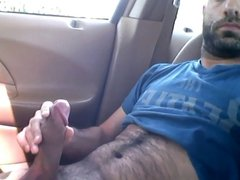 HAIRY guy Stroking in Car