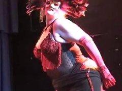 Perfect Nordic-Western Blonde BBW in Masked Burlesque Dance