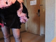Sissy Ray in Black Maids Skirt and Red Heels