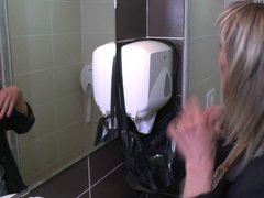 Mature pervert housewife fucked on a toilet