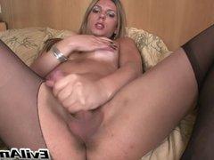 Cutie tranny masturbates her hot cock