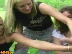 CFNM femdom blondes outdoor jerking cock