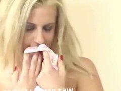 Blonde steals her coworker's dirty panties