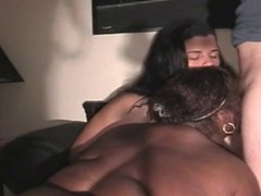 2 interracial BBWs sharing.