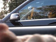 Flashing brunette in traffic