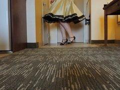 Sissy Ray upskirt in Gold skirt & black petticoat (Twirling)