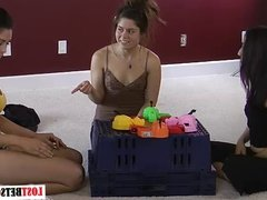 Three babes play a game of Strip Hungry Hungry Hippos