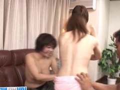 Three cock starve Asian sharing on a lucky studs hard cock