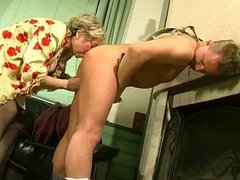 Grannie x Young man-Business meeting turns into sex