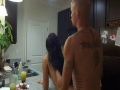 One night stand fucking on the kitchen counter