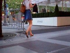 Oops:: Brunette in blue skirt