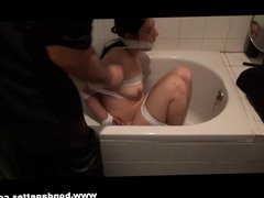 Bath bondage of roped and gagged Honesty in kinky domination