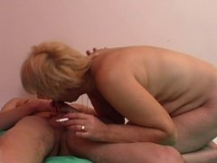 Smoking mature blonde