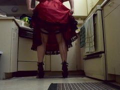 Sissy Ray in Red Dress and High Heels