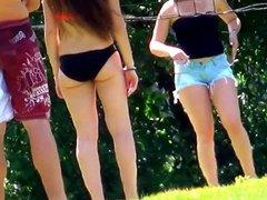 Candid - Bikini Babes Playing Volleyball