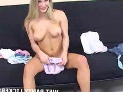 Blonde indulging in her secret panty fetish