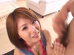 Cute Japanese girl gets her face splattered with cum