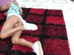 Amateur blonde MOM playing in her garden